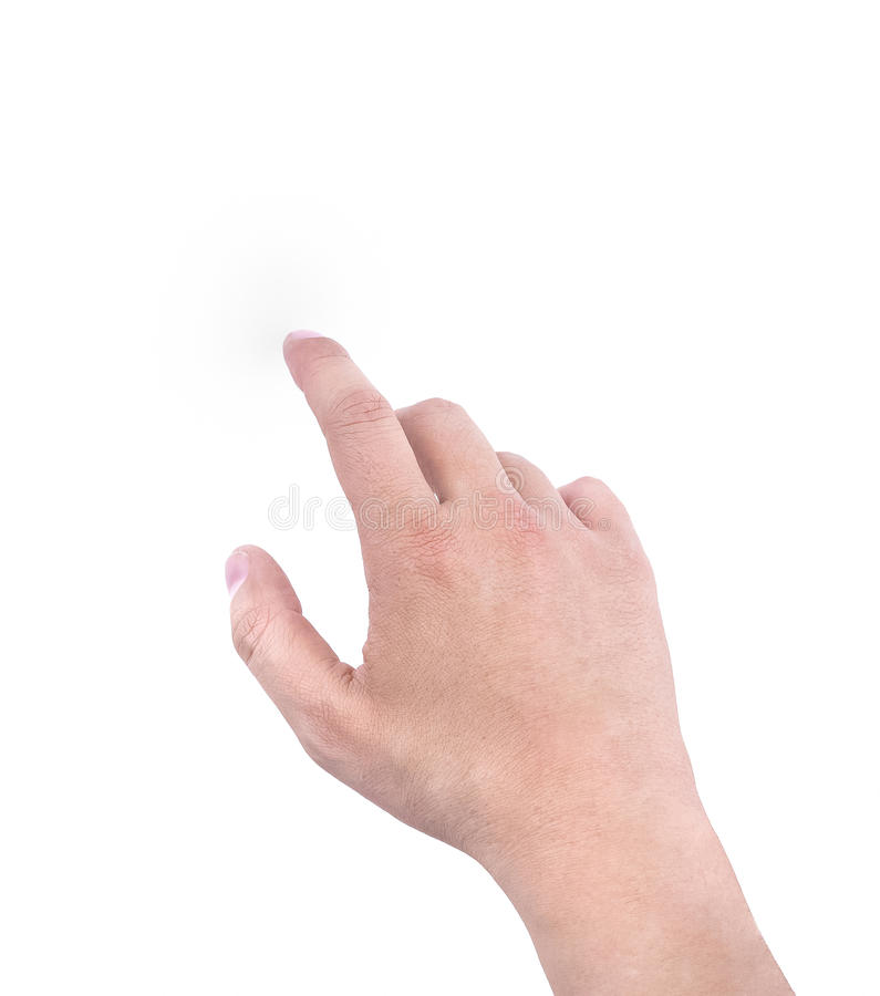 Mani di un uomo che mostra il dito indice su fondo bianco, segno di simbolo della mano fotografie stock