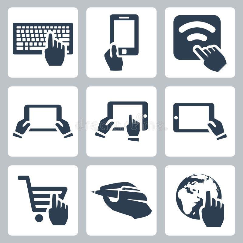 Mani di vettore ed icone di tecnologia messe illustrazione vettoriale