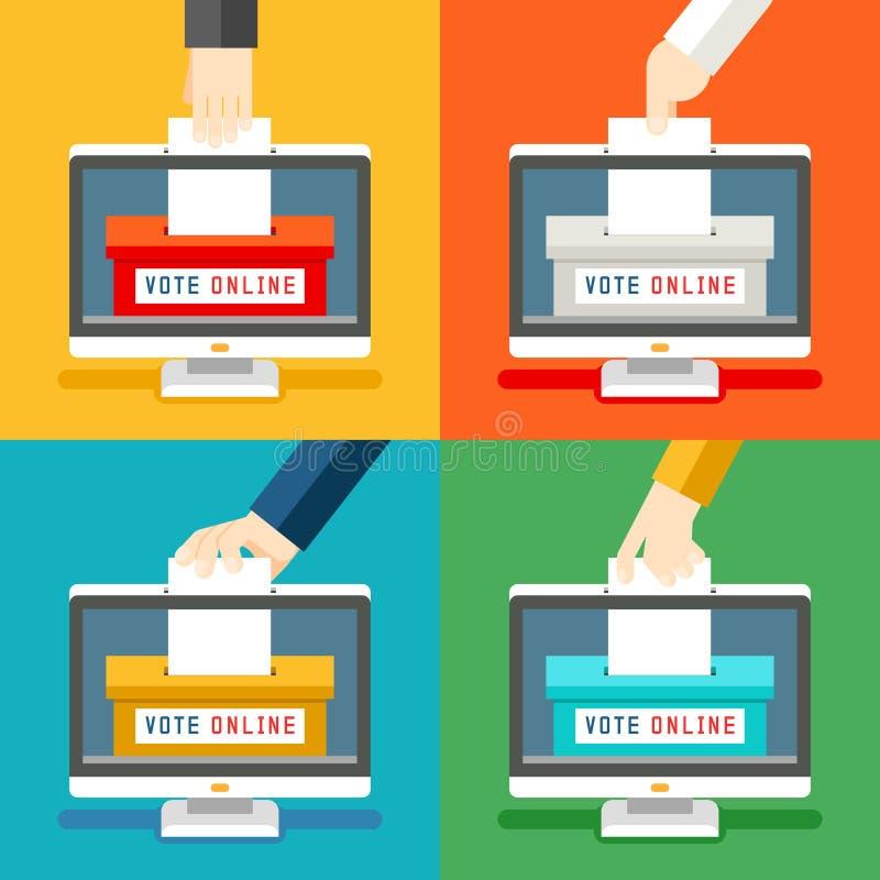 Mani di voto online illustrazione vettoriale