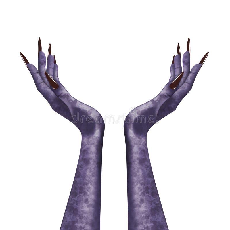 Mani diaboliche isolate della strega fotografia stock