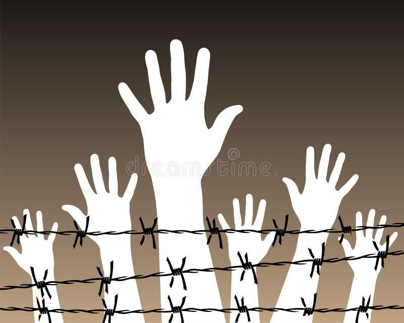 Mani dietro una prigione del filo royalty illustrazione gratis