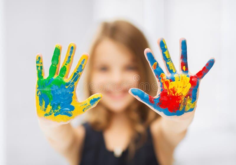 Mani dipinte rappresentazione della ragazza immagine stock