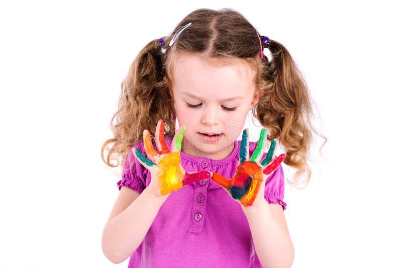 Mani dipinte rappresentazione della ragazza immagine stock libera da diritti