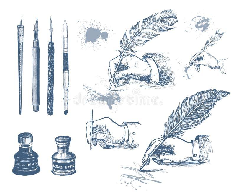 Mani disegnate a mano d'annata che scrivono con una penna della piuma illustrazione vettoriale
