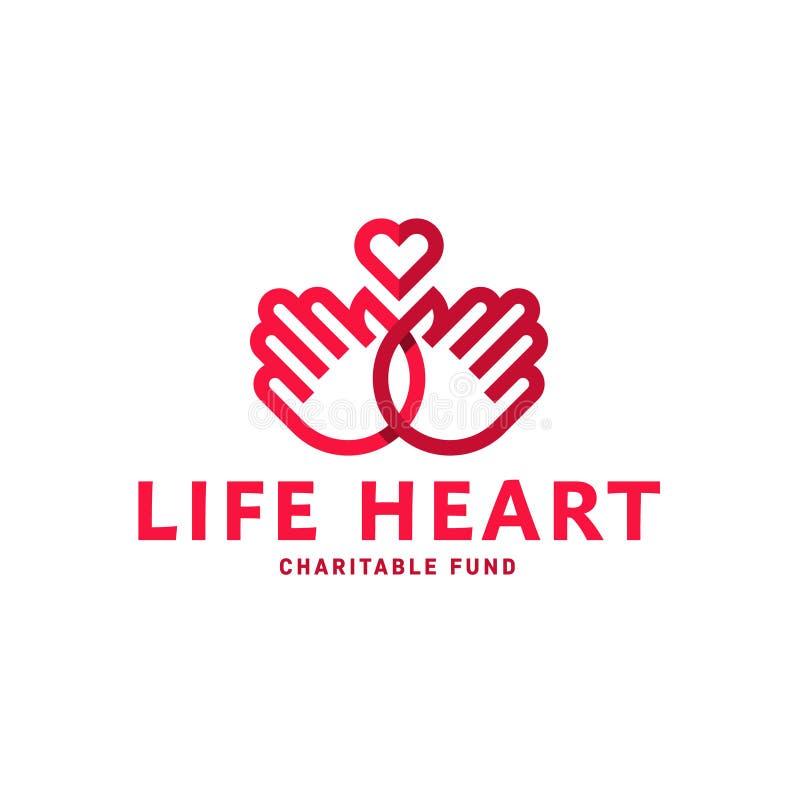 Mani e cuore in una linea tendenza piana di stile di logo immagini stock