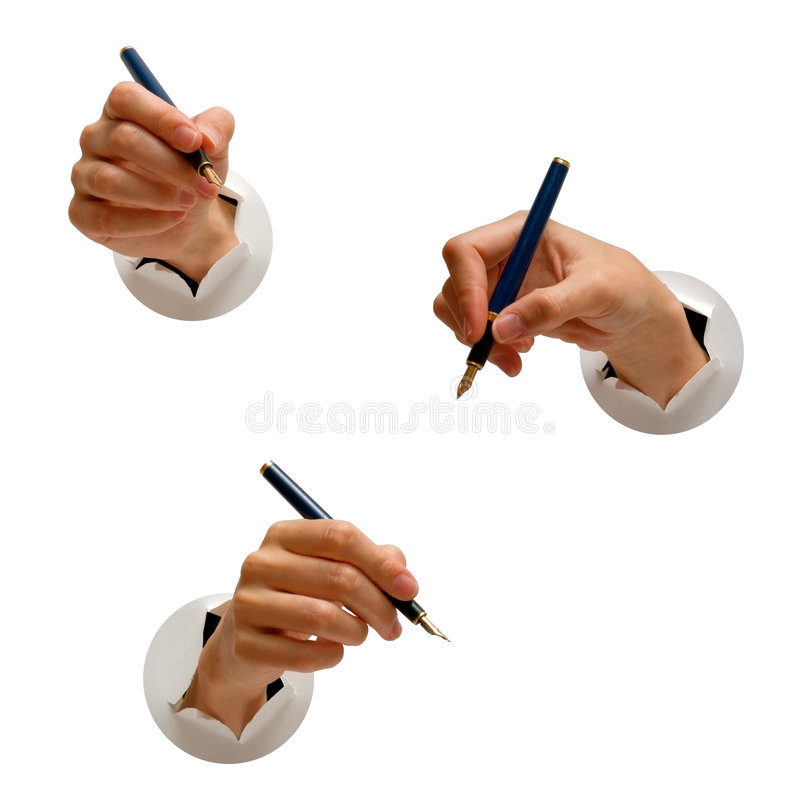 Mani e penne di fontana immagine stock libera da diritti