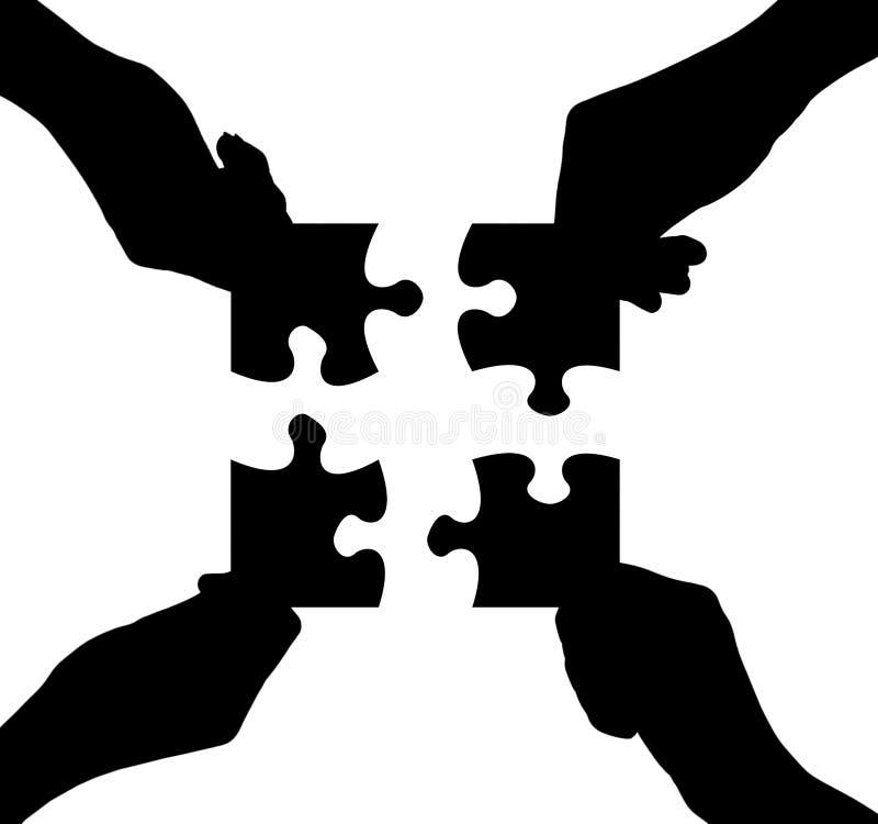 Mani e puzzle illustrazione vettoriale