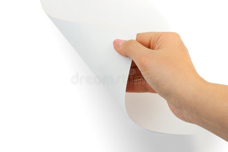 Mani e rotolo di carta immagini stock libere da diritti