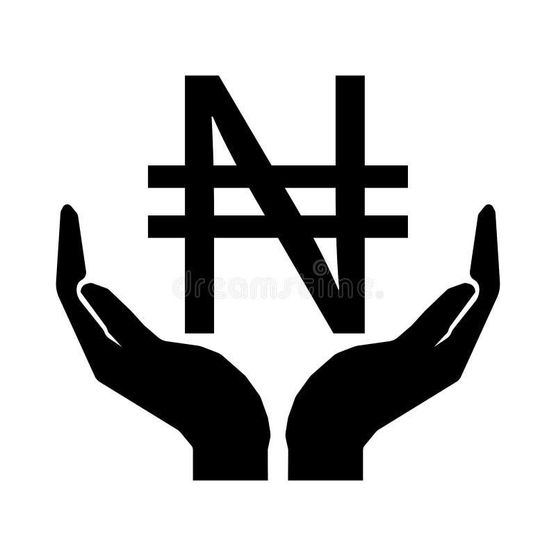 Mani e segno NIGERIANO di NAIRA di valuta dei soldi Ciao il segno dieci ENV dei soldi illustrazione di stock