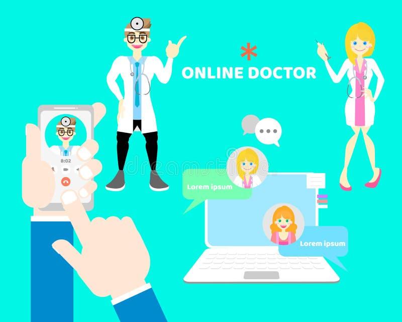 mani e telefono cellulare della tenuta del dito che chiama medico, chiacchierata online di sanità con medico maschio e femminile, illustrazione di stock