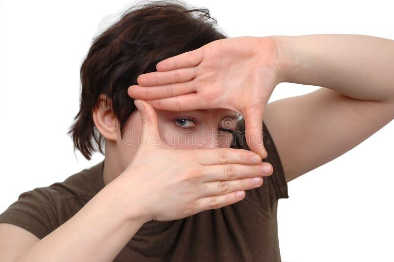 Mani ed occhio fotografie stock libere da diritti