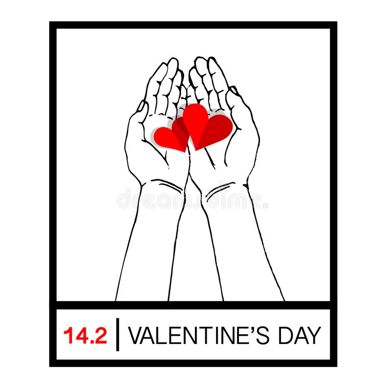 Mani femminili che danno due cuori rossi, mano che tiene una forma rossa del cuore Dia l'amore il giorno del ` s del biglietto di illustrazione di stock