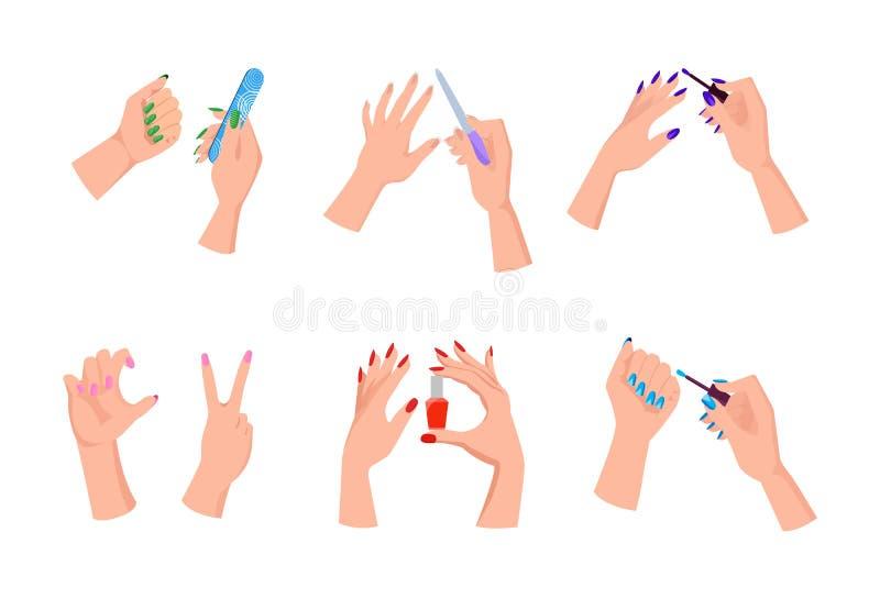 Mani femminili con gli archivi luminosi di unghia e del manicure royalty illustrazione gratis