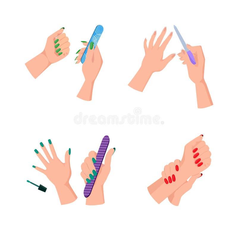 Mani femminili con gli archivi ordinati di unghia e del manicure illustrazione di stock