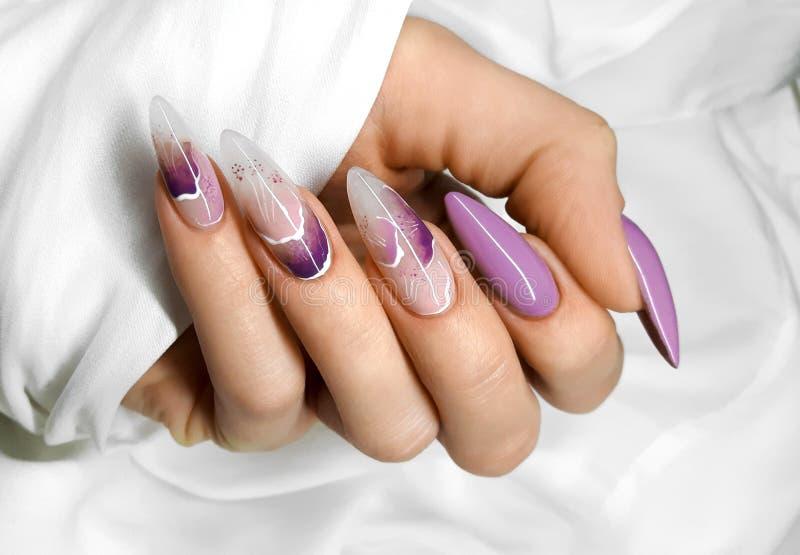 Mani femminili con le belle unghie ibride variopinte ed il manicure professionale fotografie stock libere da diritti