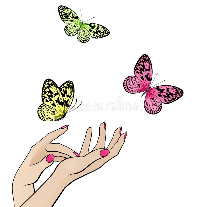 Mani femminili con le farfalle variopinte di volo royalty illustrazione gratis
