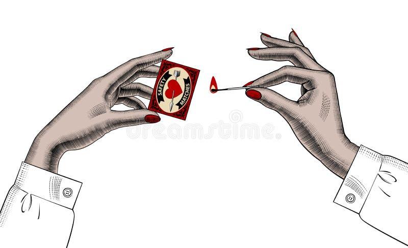 Mani femminili con le partite di sicurezza illustrazione di stock