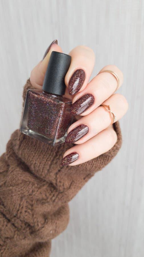 Mani femminili con le unghie lunghe con smalto marrone immagine stock libera da diritti
