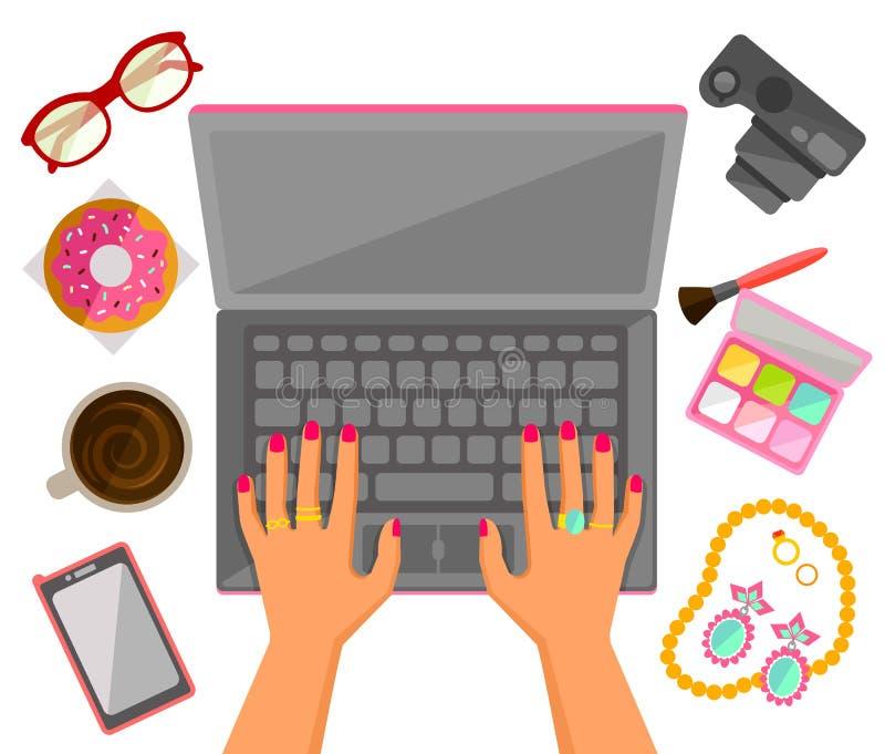 Mani femminili su un computer portatile royalty illustrazione gratis