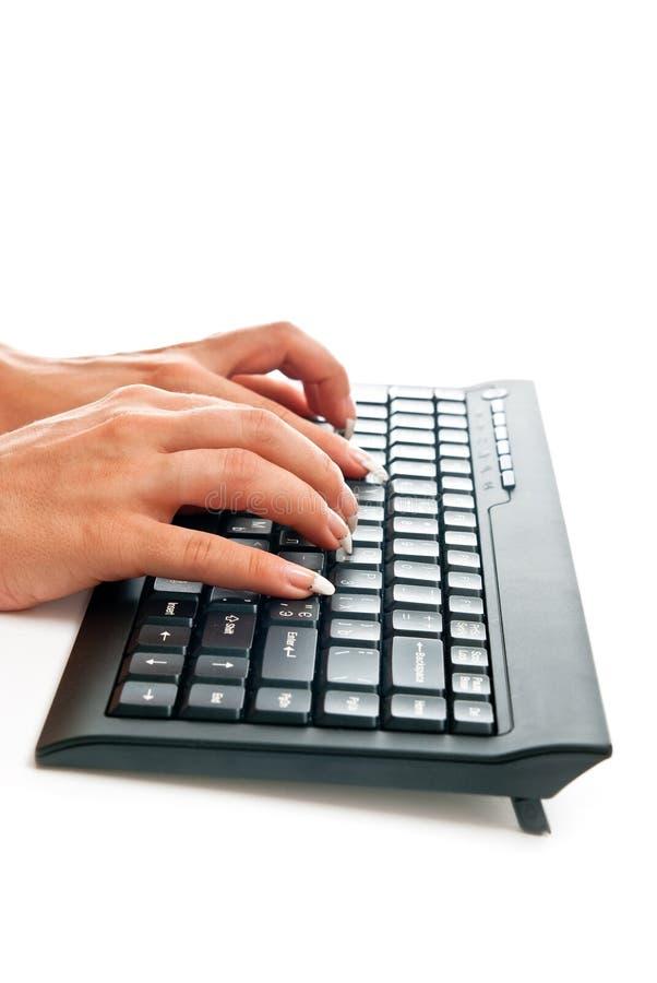 Mani femminili sulla tastiera fotografia stock libera da diritti