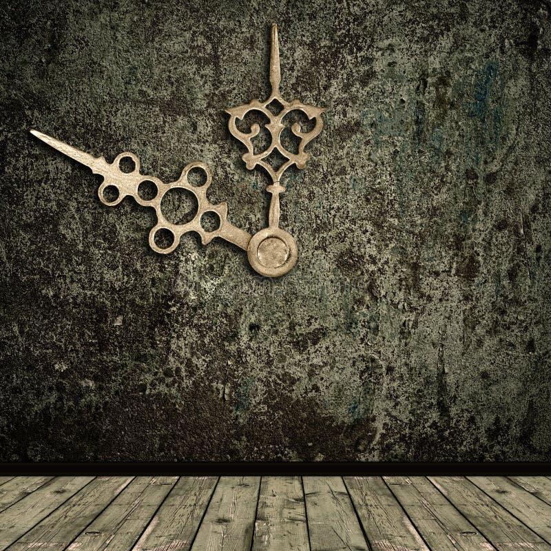 Mani interne e dorate di Grunge di orologio immagini stock libere da diritti
