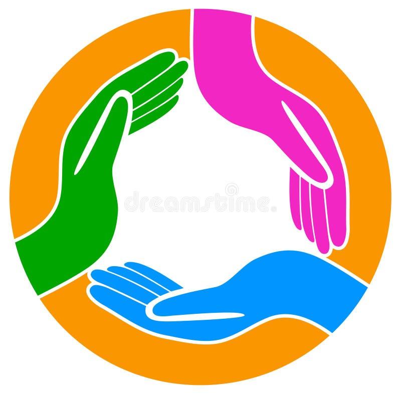 Mani intorno al logo di lavoro di squadra illustrazione di stock