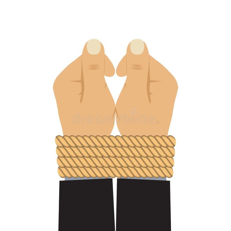 Mani legate da una corda royalty illustrazione gratis