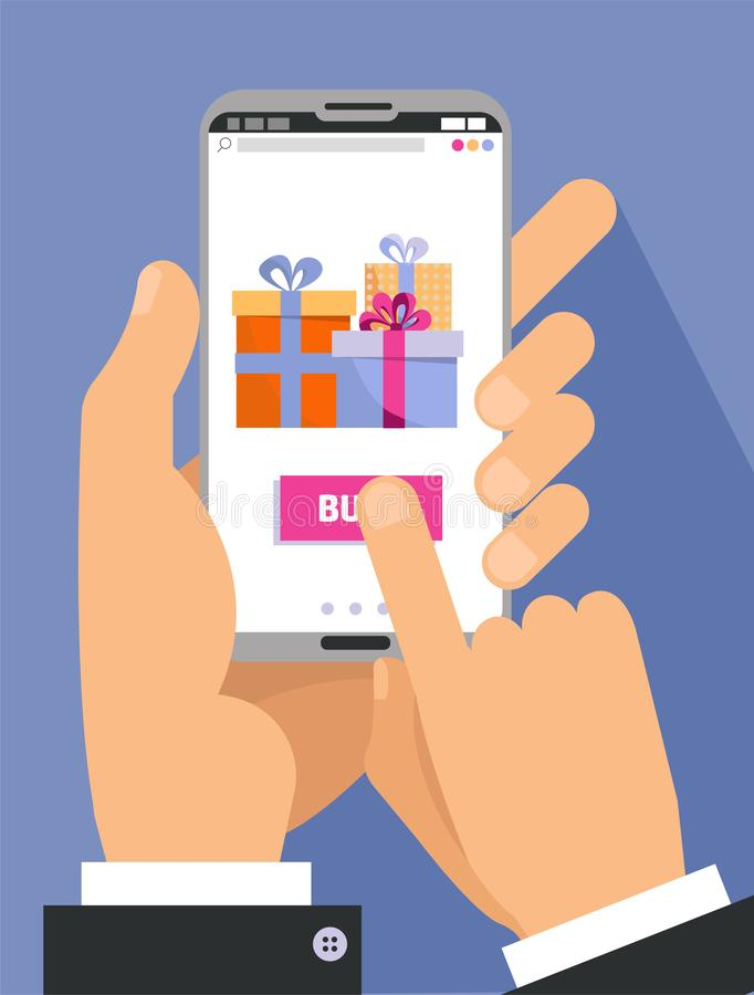 2 mani maschii in smartphone della tenuta del vestito con i contenitori di regalo sullo schermo Tocco del dito il bottone dell'af royalty illustrazione gratis
