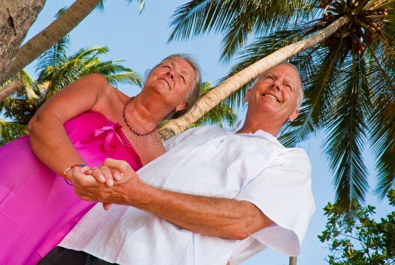 Mani mature felici della holding delle coppie fotografia stock libera da diritti