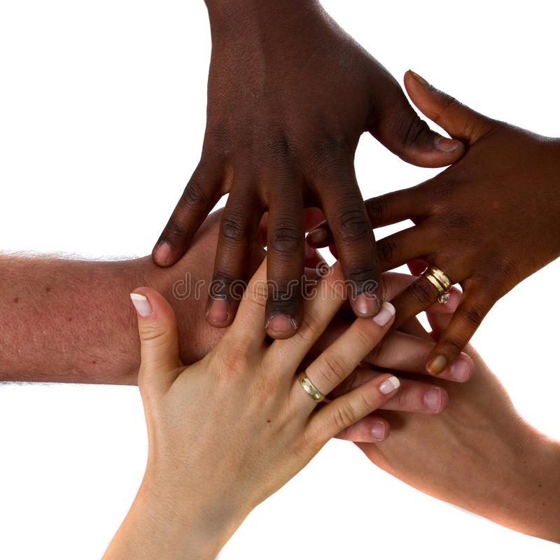 Mani Multiracial insieme fotografie stock