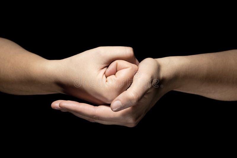 Mani nel gesto di mudra immagine stock