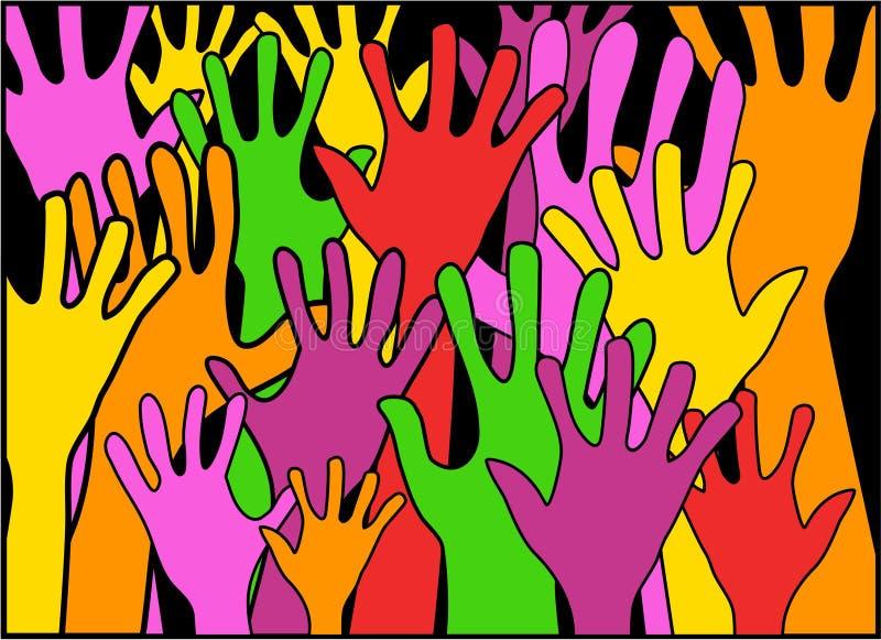 Mani nell'unità illustrazione di stock