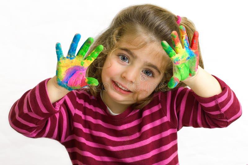Mani nella pittura immagine stock libera da diritti