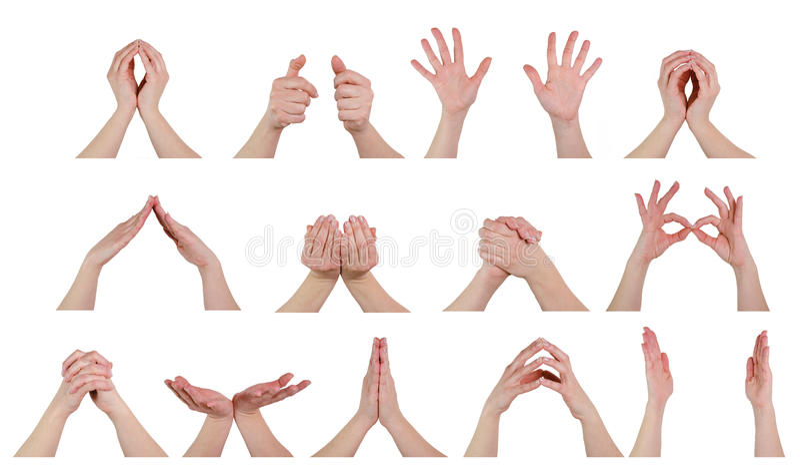 Mani nelle pose fotografie stock