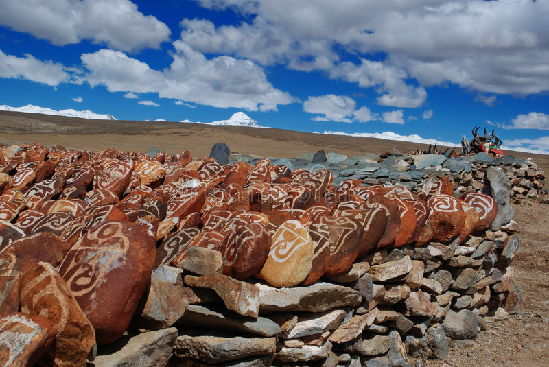 Mani Piles. Worshipped the Sacred Mt. Kailash in the background stock photo
