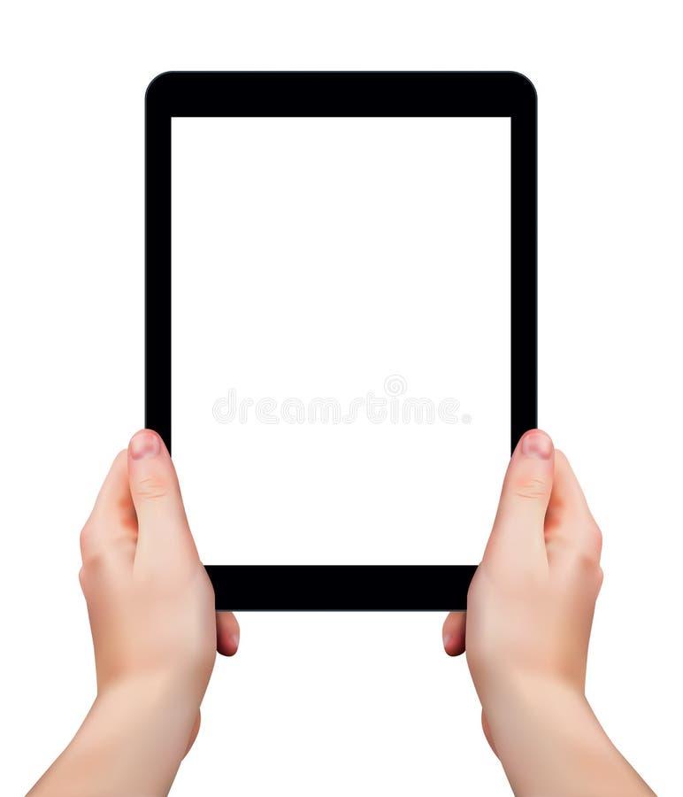 Mani realistiche di vettore che tengono compressa con lo schermo in bianco isolato su fondo bianco illustrazione di stock