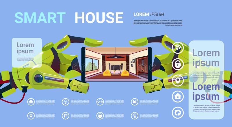 Mani robot che tengono Smartphone con tecnologia dell'interfaccia del monitoraggio della casa intelligente del concetto domestico illustrazione vettoriale