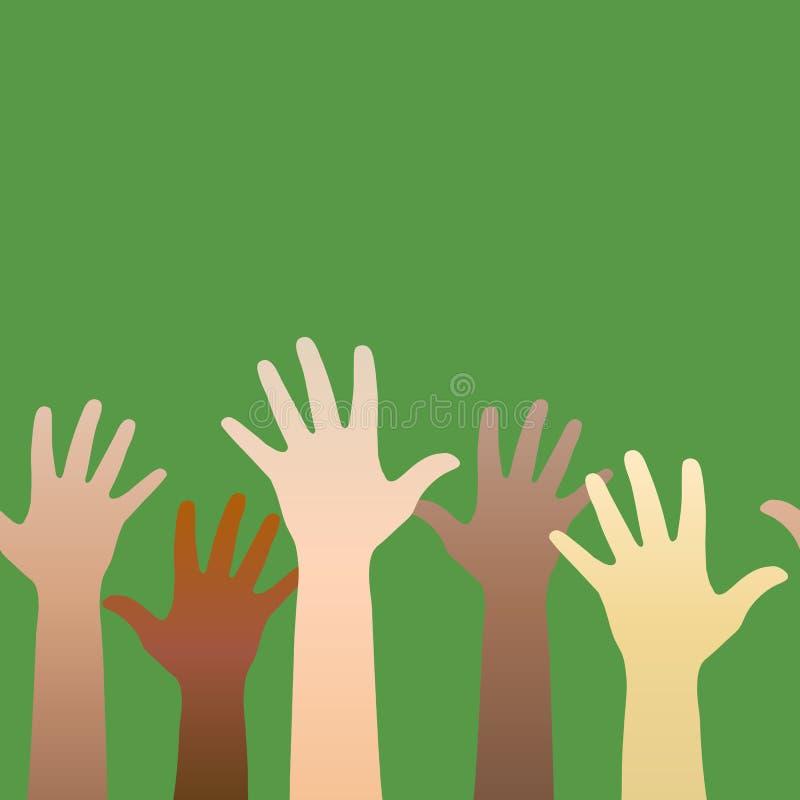 Mani sollevate in su Concetto di volontariato, multi-etnia, uguale illustrazione vettoriale