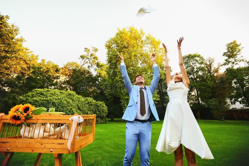 Mani sorridenti felici dello sposo e della sposa che liberano le colombe bianche su una s fotografia stock