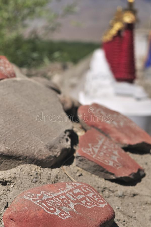 Mani-steen bij het Lamayuru-Klooster in Ladakh royalty-vrije stock foto's
