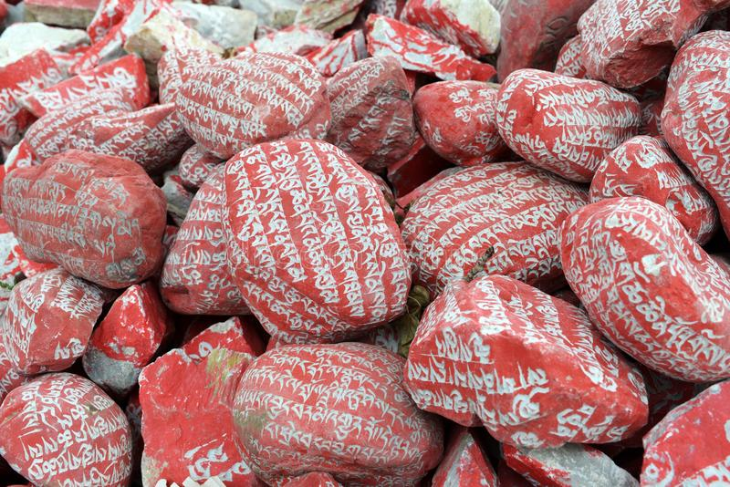 Mani-stenen met zes-Woord Theorie royalty-vrije stock afbeeldingen