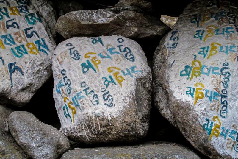 Mani Stones con ronzio buddista del padme del OM mani di mantra in Himalaya, Nepal fotografia stock libera da diritti