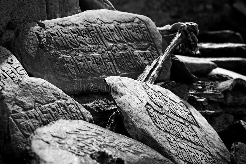 Mani Stones in Lamayuru-Klooster stock foto's