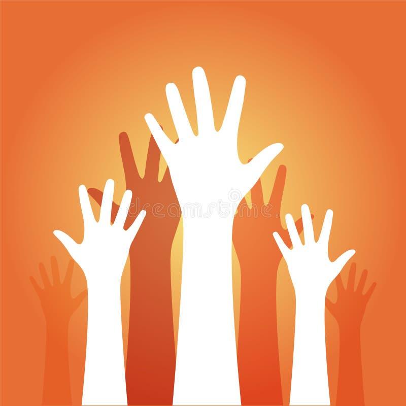 Mani su su un fondo arancio royalty illustrazione gratis