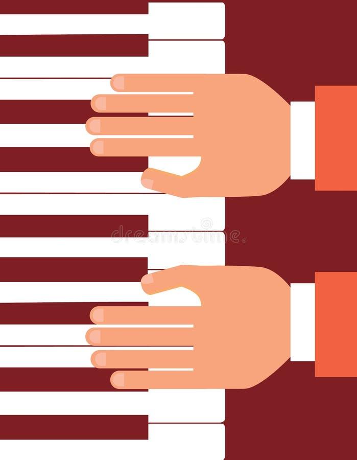 Mani sull'illustrazione piana di vettore di progettazione della tastiera di piano Concetto classico di musica illustrazione vettoriale
