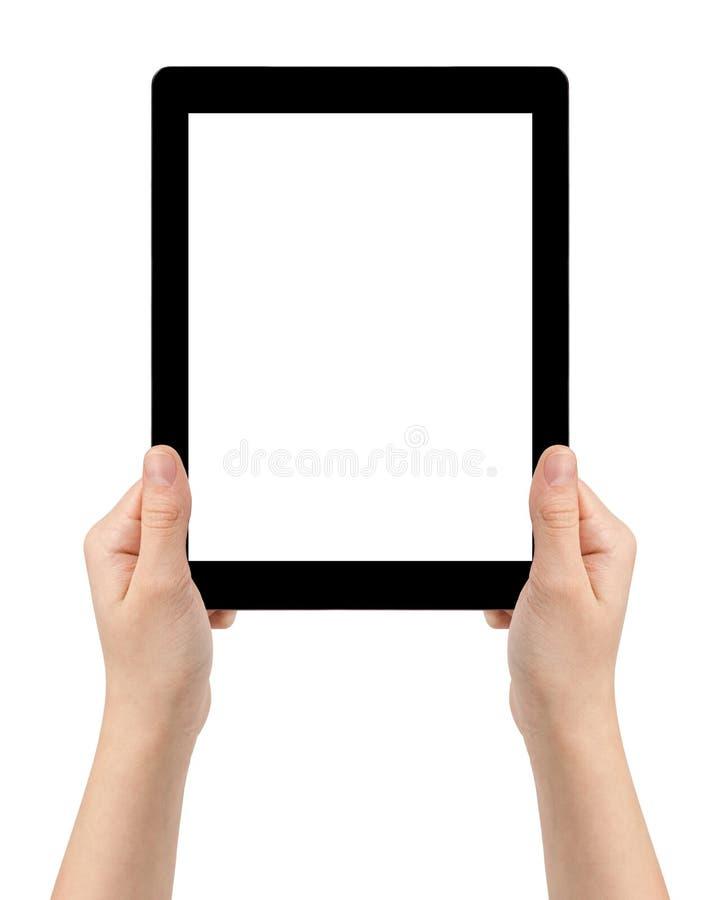 Mani teenager femminili facendo uso del pc della compressa con lo schermo bianco immagine stock
