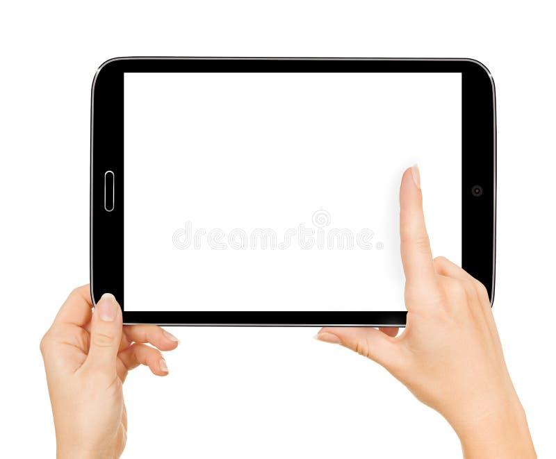 Mani teenager femminili facendo uso del pc della compressa con lo schermo bianco, immagine stock libera da diritti