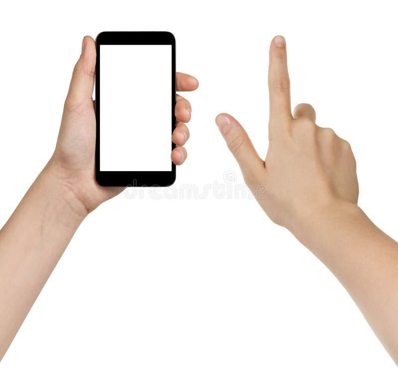 Mani teenager femminili facendo uso dello smarpthone generico immagini stock libere da diritti