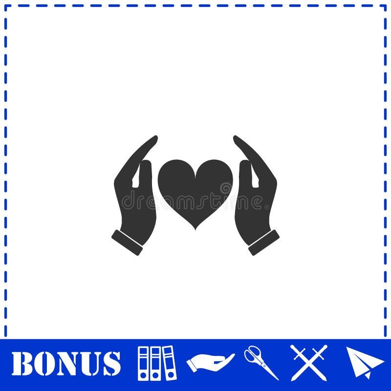 Mani umane che tengono e proteggere pianamente l'icona del cuore royalty illustrazione gratis