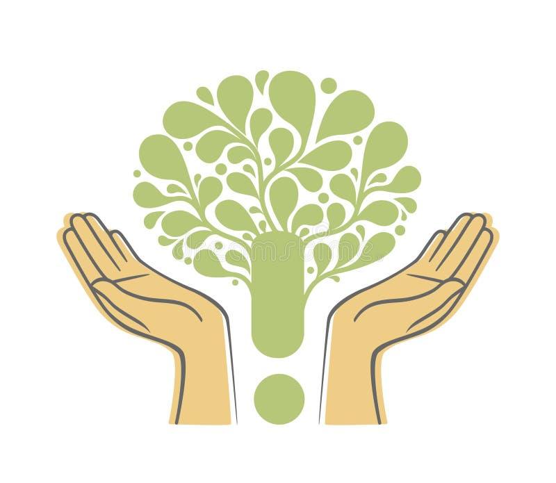 Mani umane che tengono simbolo verde dell'albero Illustrazione di concetto per cura dell'ambiente o il progetto di aiuto illustrazione vettoriale